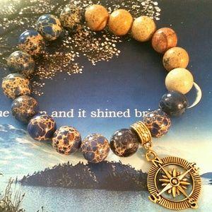 Jasper Nautical Charm Bracelet